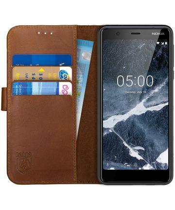 Rosso Deluxe Nokia 5.1 Hoesje Echt Leer Book Case Bruin Hoesjes
