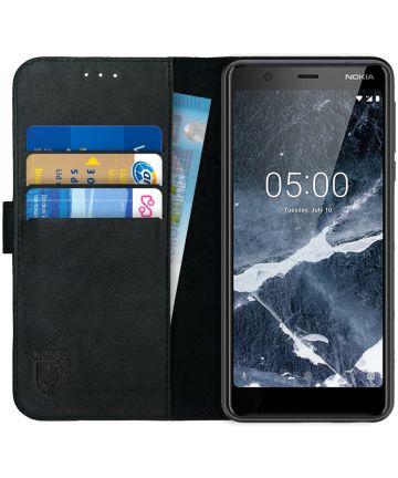 Rosso Deluxe Nokia 5.1 Hoesje Echt Leer Book Case Zwart Hoesjes