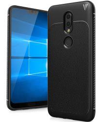 Nokia 6 (2018) Plus Leren TPU Hoesje Zwart