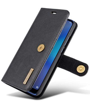 Huawei P20 Lite Leren Portemonnee Hoesje Zwart