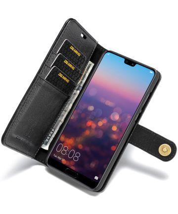 Huawei P20 Pro Echt Leren Portemonnee Hoesje Zwart Hoesjes