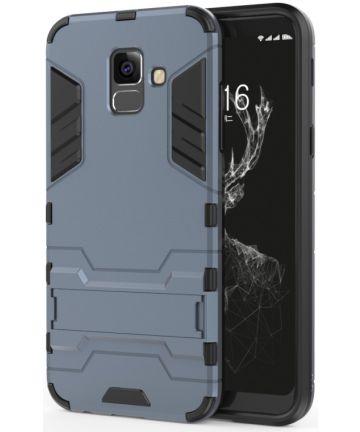 Samsung Galaxy A6 Hybride Stand Hoesje Blauw Hoesjes