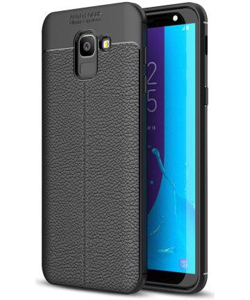 Samsung Galaxy J6 (2018) Kunstleren Coating TPU Hoesje Black Hoesjes
