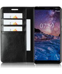 Nokia 7 Plus Echt Leren Book Case Hoesje Zwart