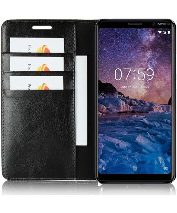 Nokia 7 Plus Echt Leren Book Case Hoesje Zwart Hoesjes
