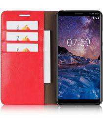 Nokia 7 Plus Echt Leren Book Case Hoesje Rood