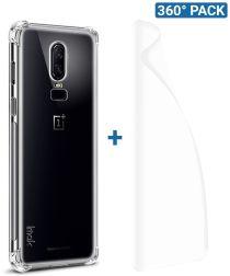 IMAK OnePlus 6 Hoesje Flexibel TPU met Screenprotector Transparant