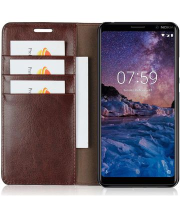 Nokia 7 Plus Echt Leren Book Case Hoesje Bruin