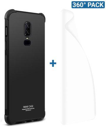 IMAK OnePlus 6 Hoesje Flexibel TPU met Screenprotector Metaal Zwart