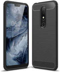 Nokia 6.1 Plus Geborsteld TPU Hoesje Zwart