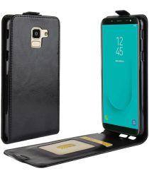 Samsung Galaxy J6 (2018) Verticaal Flip Hoesje Zwart