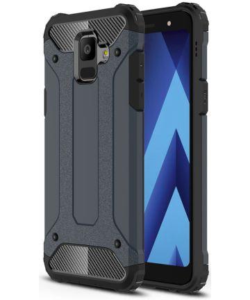 Samsung Galaxy A6 Hybride Hoesje Donker Blauw Hoesjes