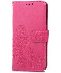 Huawei P20 Pro Portemonnee Hoesje met Bloem Print Roze