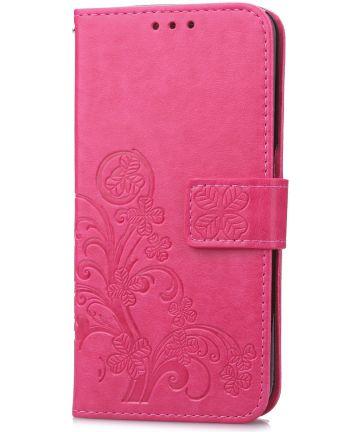 Huawei P20 Pro Portemonnee Hoesje met Bloem Print Roze Hoesjes