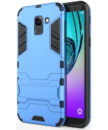 Samsung Galaxy J6 (2018) Hybride Stand Hoesje Blauw Hoesjes