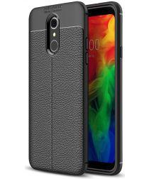 LG Q7 Hoesje met Leren Textuur Zwart