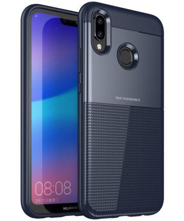 Huawei P20 Lite Schild TPU Hoesje Blauw Hoesjes