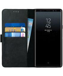 Rosso Deluxe Samsung Galaxy Note 9 Hoesje Echt Leer Book Case Zwart