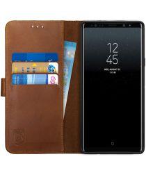 Rosso Deluxe Samsung Galaxy Note 9 Hoesje Echt Leer Book Case Bruin