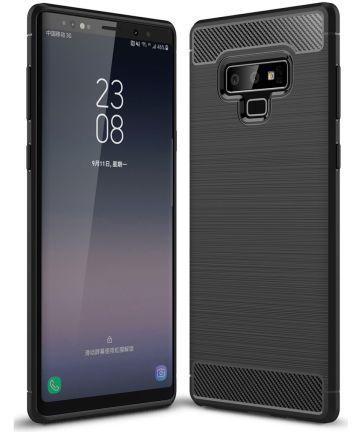 Samsung Galaxy Note 9 Geborsteld TPU Hoesje Zwart Hoesjes