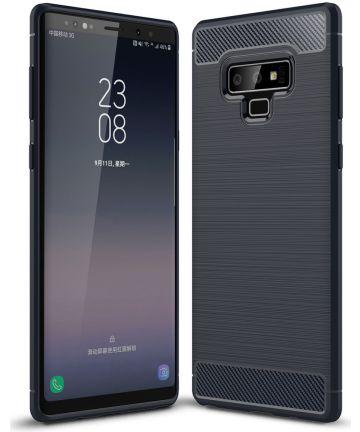 Samsung Galaxy Note 9 Geborsteld TPU Hoesje Blauw Hoesjes