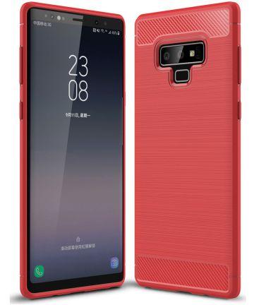 Samsung Galaxy Note 9 Geborsteld TPU Hoesje Rood Hoesjes