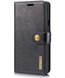 LG G7 ThinQ Echt Leren 2-in-1 Portemonnee Hoesje Zwart