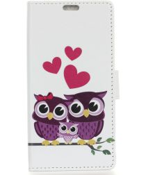 Alcatel 3C Portemonnee Hoesje met Print Owl Family