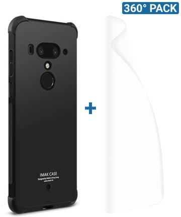IMAK HTC U12+ Hoesje Flexibel TPU met Screenprotector Metaal Zwart