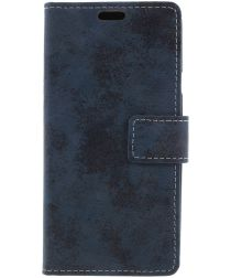 LG Q7 Vintage Portemonnee Hoesje Blauw