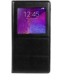Samsung Galaxy Note 4 Hoesje met Venster Zwart
