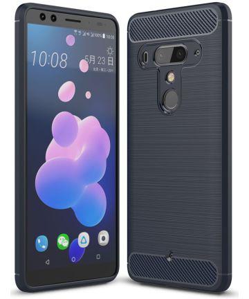 HTC U12+ Geborsteld TPU Hoesje Blauw