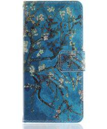 Nokia 3.1 Portemonnee Hoesje met Boom Opdruk Blauw