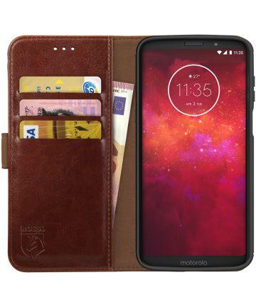Rosso Element Motorola Moto Z3 Play Hoesje Book Cover Bruin Hoesjes
