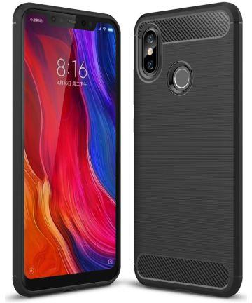 Xiaomi Mi 8 Geborsteld TPU Hoesje Zwart