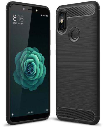 Xiaomi Mi A2 Geborsteld TPU Hoesje Zwart Hoesjes