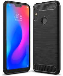 Xiaomi Mi A2 Lite Geborsteld TPU Hoesje Zwart