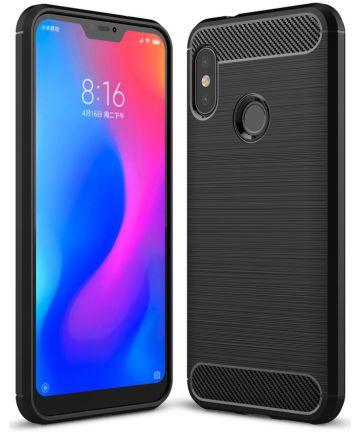 Xiaomi Mi A2 Lite Geborsteld TPU Hoesje Zwart Hoesjes