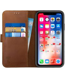Rosso Deluxe Apple iPhone XR Hoesje Echt Leer Book Case Bruin