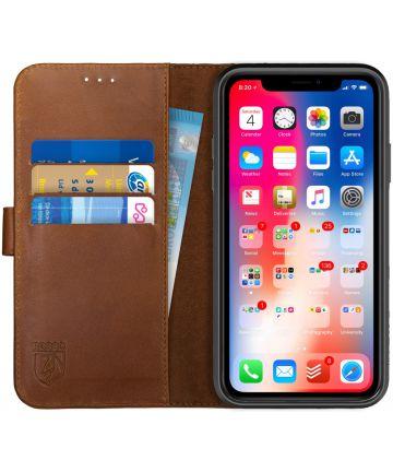 Rosso Deluxe Apple iPhone XR Hoesje Echt Leer Book Case Bruin Hoesjes