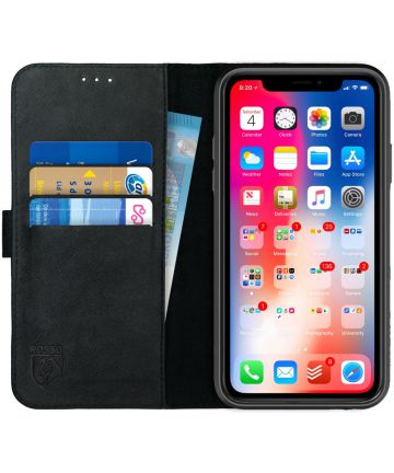 Rosso Deluxe Apple iPhone XR Hoesje Echt Leer Book Case Zwart