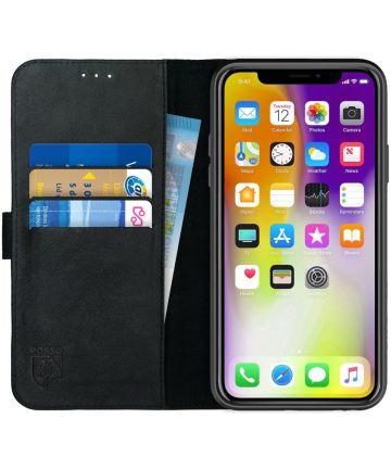 Rosso Deluxe Apple iPhone XS Max Hoesje Echt Leer Book Case Zwart Hoesjes