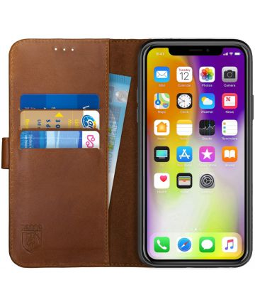 Rosso Deluxe Apple iPhone XS Max Hoesje Echt Leer Book Case Bruin Hoesjes