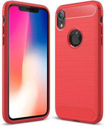 Apple iPhone XR Geborsteld TPU Hoesje Rood