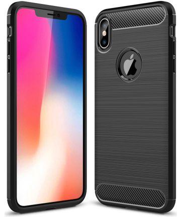 Apple iPhone XS Max Geborsteld TPU Hoesje Zwart Hoesjes