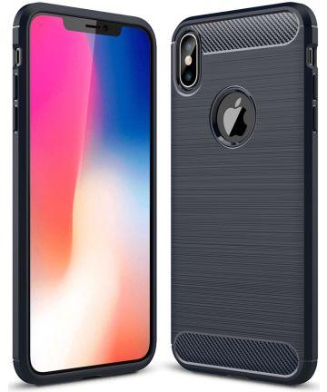 Apple iPhone XS Max Geborsteld TPU Hoesje Blauw Hoesjes