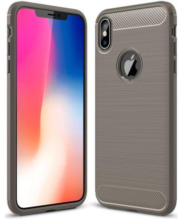 Apple iPhone XS Max Geborsteld TPU Hoesje Grijs Hoesjes