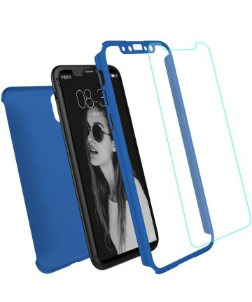 Apple iPhone XR Full Cover Hard Case met Tempered Glass Blauw Hoesjes