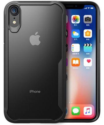 Apple iPhone XR Hybride Back Cover Hoesje Transparant Zwart