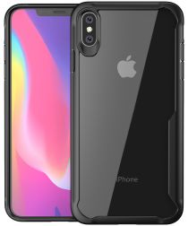 Apple iPhone XS Max Hybride Back Cover Hoesje Transparant Zwart